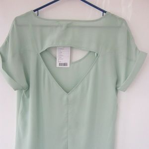 Lucca Couture Green Short Sleeve Keyhole Back Sz M